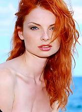 young nubiles, Fiery redhead girl strips naked at the beach
